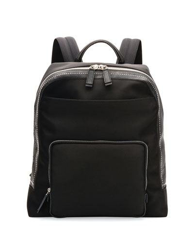 Studded Nylon Canvas Backpack, Black