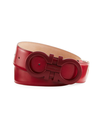 Tonal Double-Gancio Buckle Belt, Red