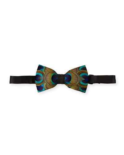 Harrel Peacock-Feather Bow Tie