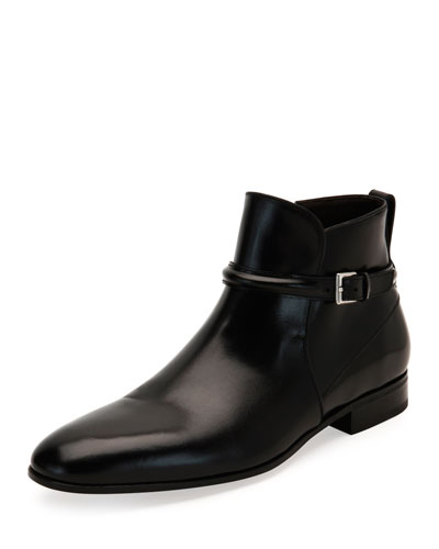 Freud Calfskin Buckle-Strap Ankle Boot, Black