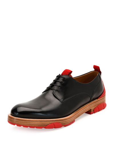 Runway Calfskin Lace-Up Derby Shoe with Rubber Sole