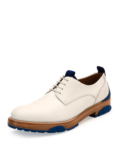 Fulgor Runway Calfskin Lace-Up Derby Shoe with Rubber Sole, Ivory/Blue