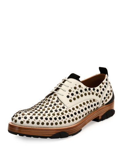 Runway Studded Lace-Up Derby Shoe with Rubber Sole, Ivory