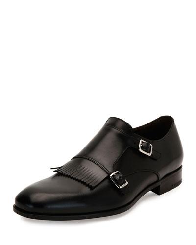 Calfskin Double-Monk Strap Loafer with Kiltie Detail, Black