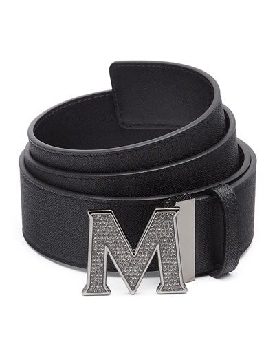 Men's Be Jeweled M-Buckle Leather Belt