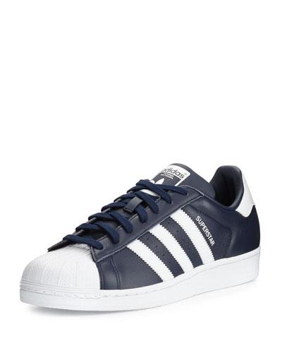 Men's Superstar Collegiate Leather Sneaker, Navy/White
