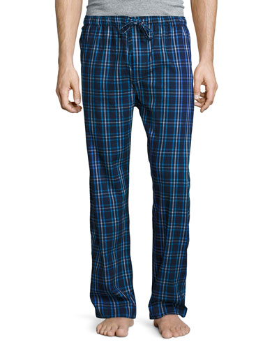 Plaid Flannel Pajama Pants, Navy