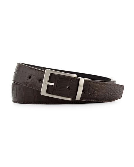W. Kleinberg Reversible Crocodile & Leather Belt Two-Buckle Box Set