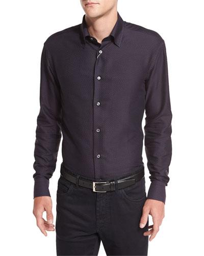 Tonal Geometric-Print Sport Shirt, Burgundy