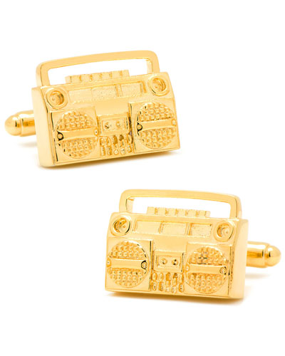 Golden Retro Boombox Cuff Links