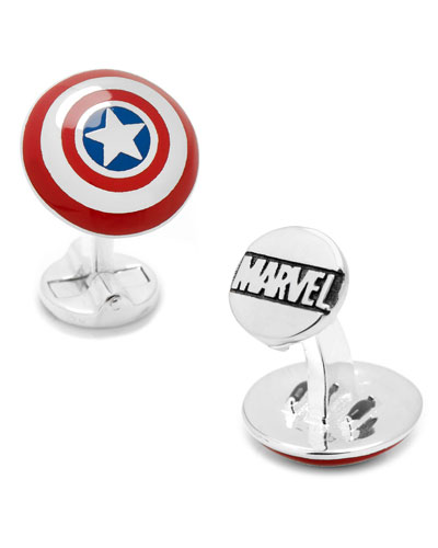 3D Captain America Shield Cuff Links