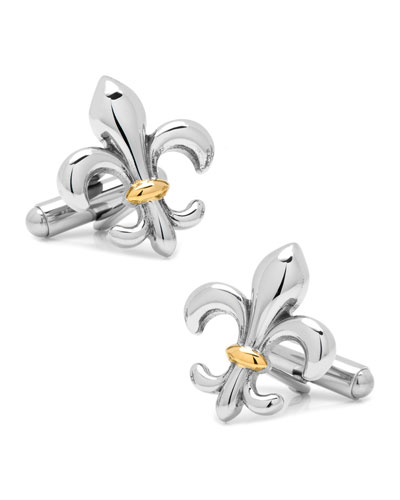Two-Tone Stainless Steel Fleur de Lis Cuff Links