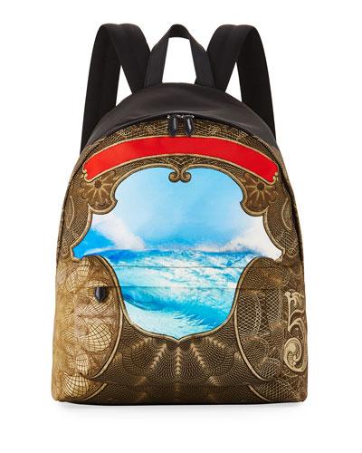 Baroque Wave-Print Canvas Backpack, Multicolor
