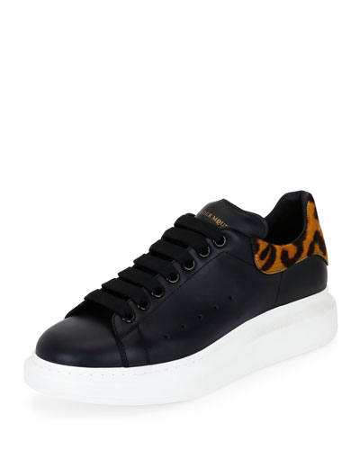 Low-Top Leopard Leather Platform Sneaker, Black