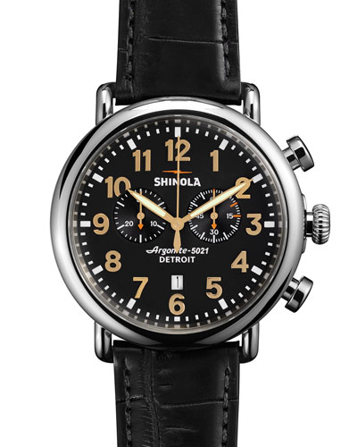 Men's 47mm Runwell Chronograph Men's Watch, Black