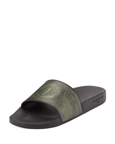 Money-Print PVC Slide Sandal, Olive