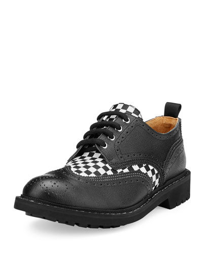 Checkerboard Commando Derby Shoe, Black/White
