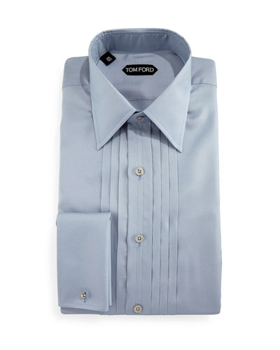 Pleated Silk Tuxedo Shirt, Light Blue