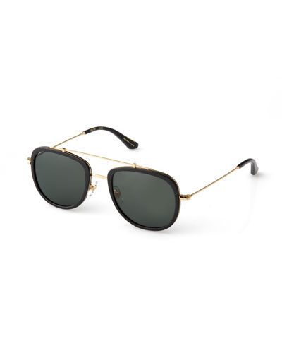 Breton 24K Gold-Plated Aviator Sunglasses, Black