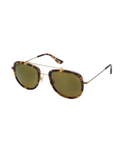 Breton Polarized Aviator Sunglasses, Blonde Tortoise