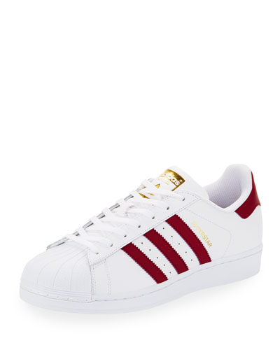 Men's Superstar Collegiate Leather Sneaker, White/Red