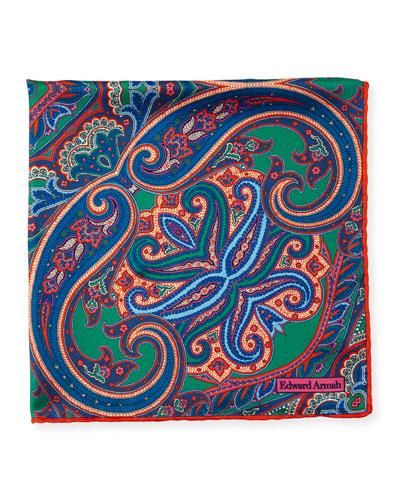 Tapestry Paisley Silk Pocket Square, Orange