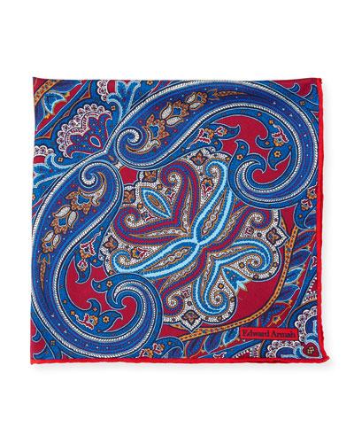 Tapestry Paisley Silk Pocket Square, Burgundy