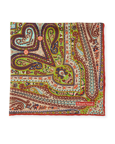 Paisley Print Silk Pocket Square, Rust