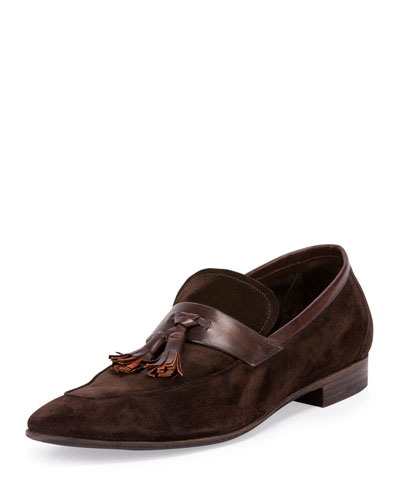 Lorenzo Suede Tassel Loafer, Brown