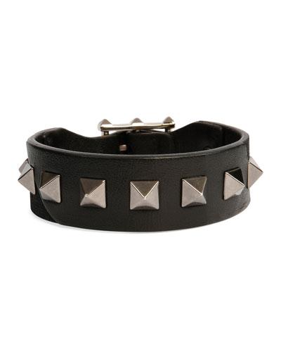 Men's Rockstud Camo Leather Bracelet, Black