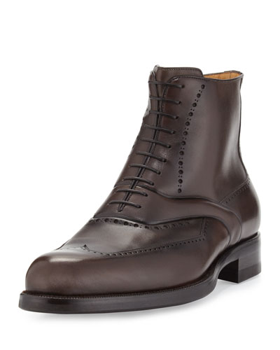 Wing-Tip Leather Lace-Up Boot, Brown