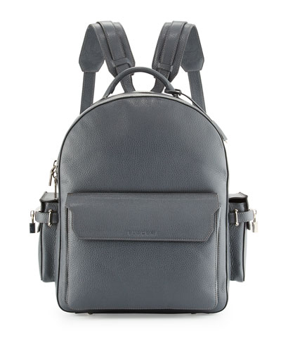PHD Men's Calf Leather Backpack, Dark Gray