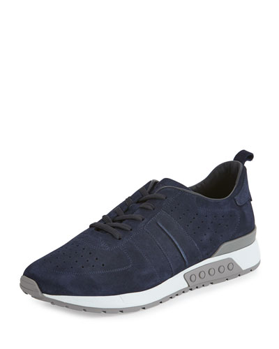Men's Suede Trainer Sneaker, Navy