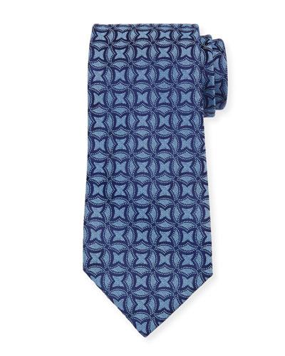 Interlocking Printed Silk Tie