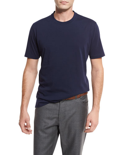 Cotton Crewneck T-Shirt, Blue