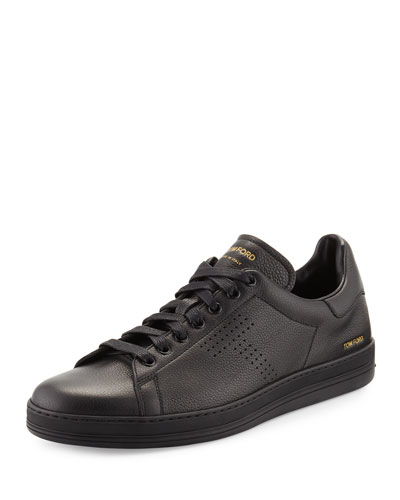 Men's Warwick Grained Leather Low-Top Sneakers, Black