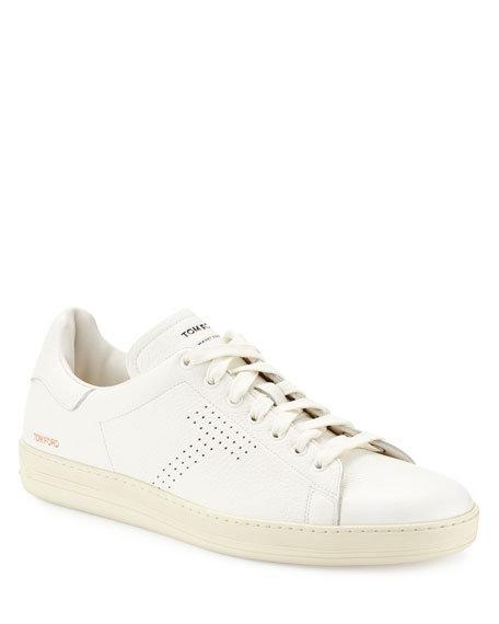 TOM FORD Men's Warwick Grained Leather Low-Top Sneakers, White