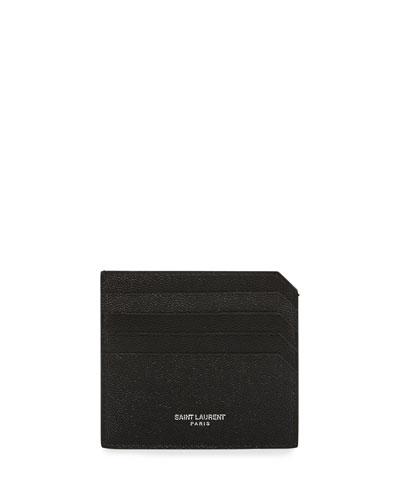 Men's Fragments Leather Credit Card Holder, Black