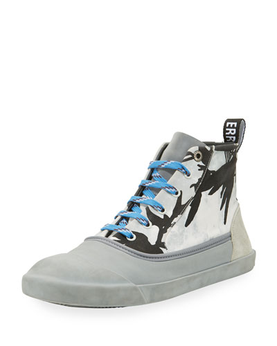 Jungle-Print High-Top Sneaker, Black