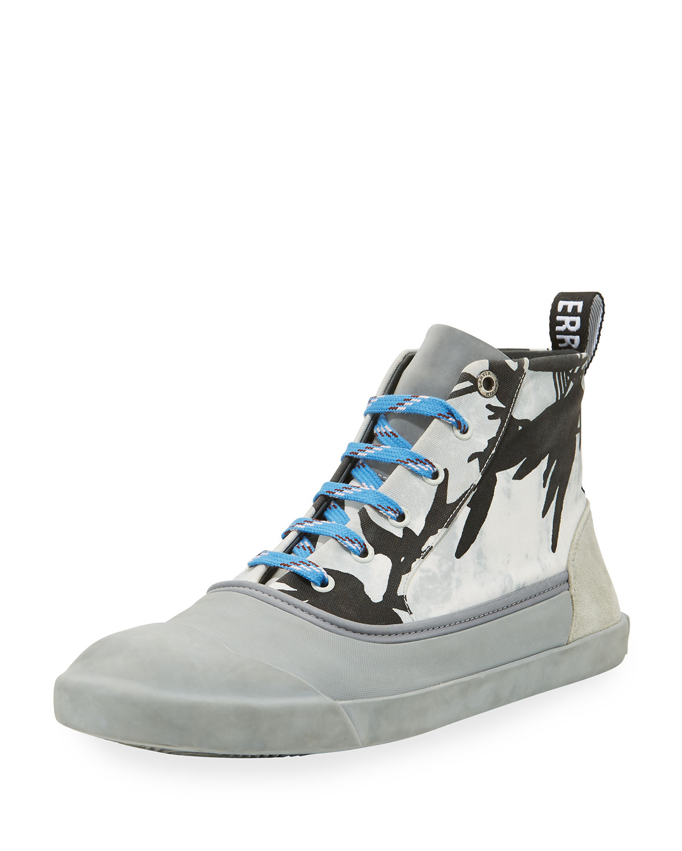 Jungle-Print High-Top Sneaker, Black