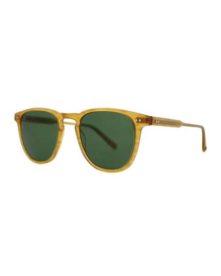 Garrett Leight Brooks 47 Square Polarized Sunglasses, Butterscotch
