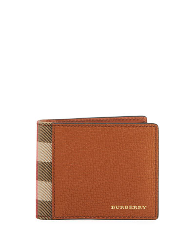 Grained Leather & House Check Hipfold Wallet, Russet