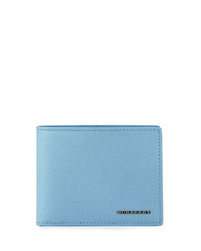 London Leather Bi-Fold Wallet, Powder Blue