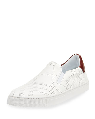 Copford Perforated Check Leather Slip-On Sneaker, White