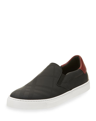 Copford Perforated Check Leather Slip-On Sneaker, Black