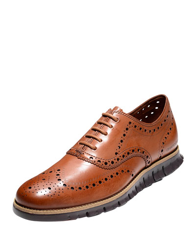 Zerogrand Leather Wing-Tip Oxford, British Tan