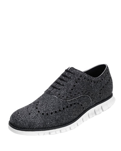 Zerogrand Wing-Tip Wool Oxford Shoe, Black