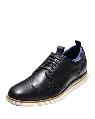 OriginalGrand Neoprene-Lined Wing-Tip Oxford, Black/Ironstone