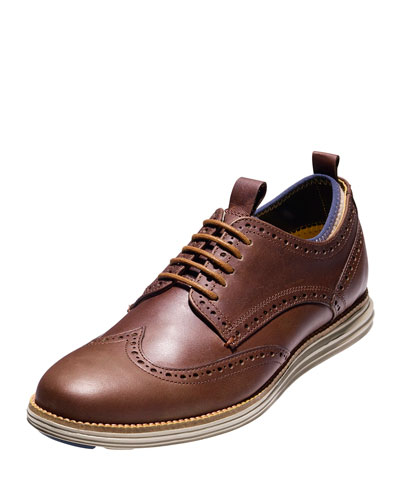 ØriginalGrand Neoprene-Lined Wing-Tip Oxford, Harvest Brown/Cobblestone