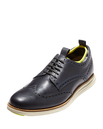 OriginalGrand Neoprene-Lined Wing-Tip Oxford, Marine Blue/Ironstone